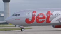 Jet 2 Aircraft rotate and takeoff. G-GDFS. B737. 1920x1080 Stock Footage
