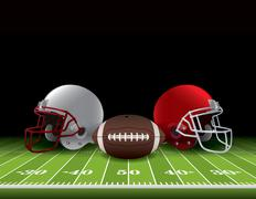 American Football Helmets and Ball on Field Stock Illustration