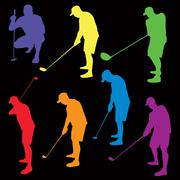 Colorful Golf Silhouettes Illustration Stock Illustration