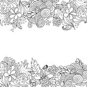 Hand drawn floral vector doodle top and down border card design Stock Illustration