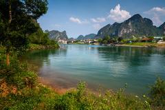 River near the town of Phong Nha in the National Park of Phong Nha Ke Bang, Viet Stock Photos