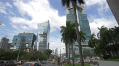 Calle 50 with Global Bank in Panama City Stock Footage