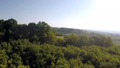 Bird's-eye view forest, farmland, ravine dawn sun rays Stock Footage