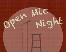 Open Mic Night - stock illustration