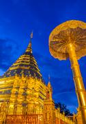 Stock Photo of Wat Phra That Doi Suthep is the popular tourist destination of Chiang Mai, Th