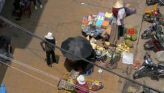 Street view of Da Lat Market from above Stock Footage