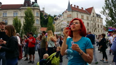 4K, Soap Bubble parade, Ljubljana, Slovenia Stock Footage