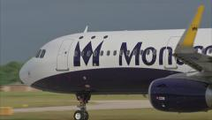 Monarch closeup pullout to takeoff. G-ZBAD. Manchester. A321. 1920x1080 Stock Footage