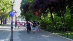 Local people and tourists in the historic city centre of Vienna, Austria Stock Footage