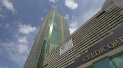 The Credicorp Bank building in Panama City Stock Footage