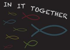 Christian Fish in it Together - stock illustration