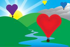 Sunny Morning Love Air Balloon Scene - stock illustration