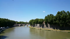View over Tiber river with bridges Stock Footage