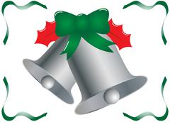 Silver Christmas Bells with Holly and Ribbons - stock illustration