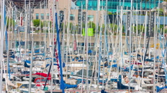 Yachts in port Barcelona Stock Footage
