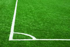 corner lines on soccer grass - stock photo