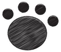 Paw Print Black - stock illustration