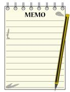 Stock Illustration of Lined Memo Notepad With Pencil