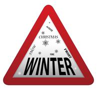 Stock Illustration of Winter Roadsign