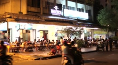 Evening outdoor local restaurant - many people Stock Footage