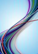 Bluish background covers a group of colored curved ribbons and strips Stock Illustration