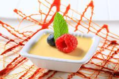 Small dish of vanilla custard topped with fruit - stock photo