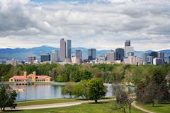 Denver Colorado Skyline on a Cloudy Day Stock Photos