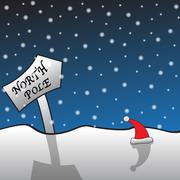 North Pole Signpost and Santa Hat - stock illustration