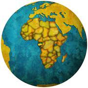 Stock Illustration of gabon flag on globe map