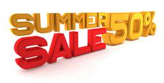 Summer Sale. Large three-dimensional letters on a white background. The letters - stock illustration