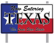 Now Entering Texas Sign Stock Illustration
