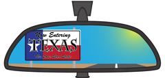 Texas In Chunky Rear View Mirror - stock illustration