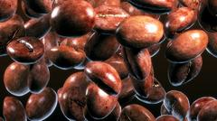 fall coffee beans in smoke - stock illustration