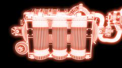 Steampunk mechanism red grid on black background Piirros