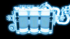 Steampunk mechanism blue grid on black background Stock Illustration