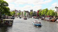 Time Lapse boats in a Canal of Amsterdam, Netherlands - stock footage