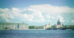 St. Petersburg. View on the Saint Isaac's Cathedral, the Admiralty and Winter - stock photo