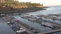 Empty boat slips due to California drought - stock footage