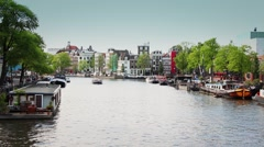 Amsterdam Sightseeing Canal, Netherlands Stock Footage