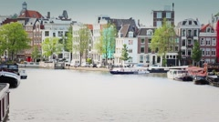 Famous Canals and houses of Amsterdam, Netherlands - stock footage