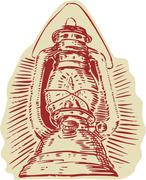 Kerosene Lamp Etching - stock illustration