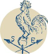 Rooster Cockerel Crowing Weather Vane Etching - stock illustration