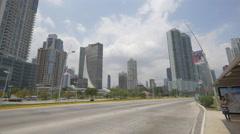 Avenida Balboa with Le Meridien Panama Hotel in Panama Stock Footage