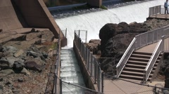Empty fish ladder at the end of the salmon run Stock Footage
