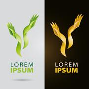 Cosmetic and beauty services logo with plantlike organic hands - stock illustration