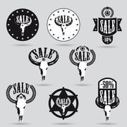 Big sale tag set with western design Stock Illustration