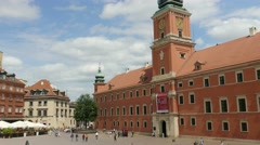 Warsaw, Poland. The Royal Palace and market square in the Old Town. Stock Footage