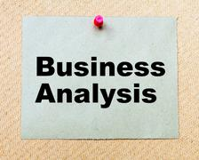 Business Analysis written on paper note pinned with red thumbtack Stock Photos