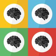 Brain icon ( flat design ) on different color background ( lateral view ) Use Stock Illustration