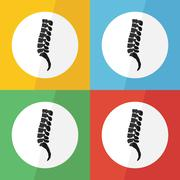 Spine icon ( flat design ) on different color background ( lateral view ) Use Stock Illustration